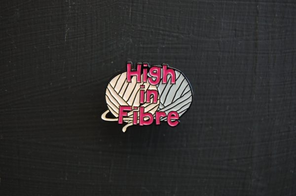 Yarn themed enamel pin for knitters and crocheters
