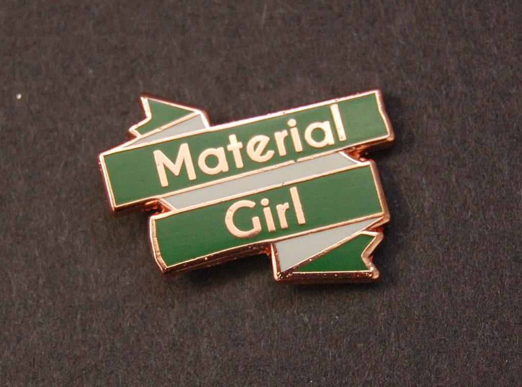 Sewing themed enamel pin