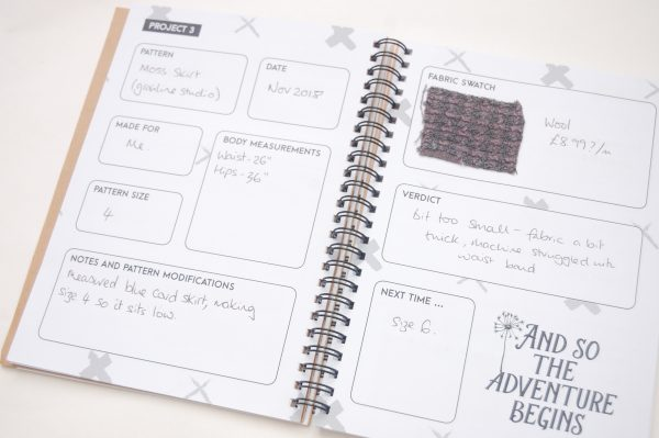 Maker's Workbook Sewing journal for project planning