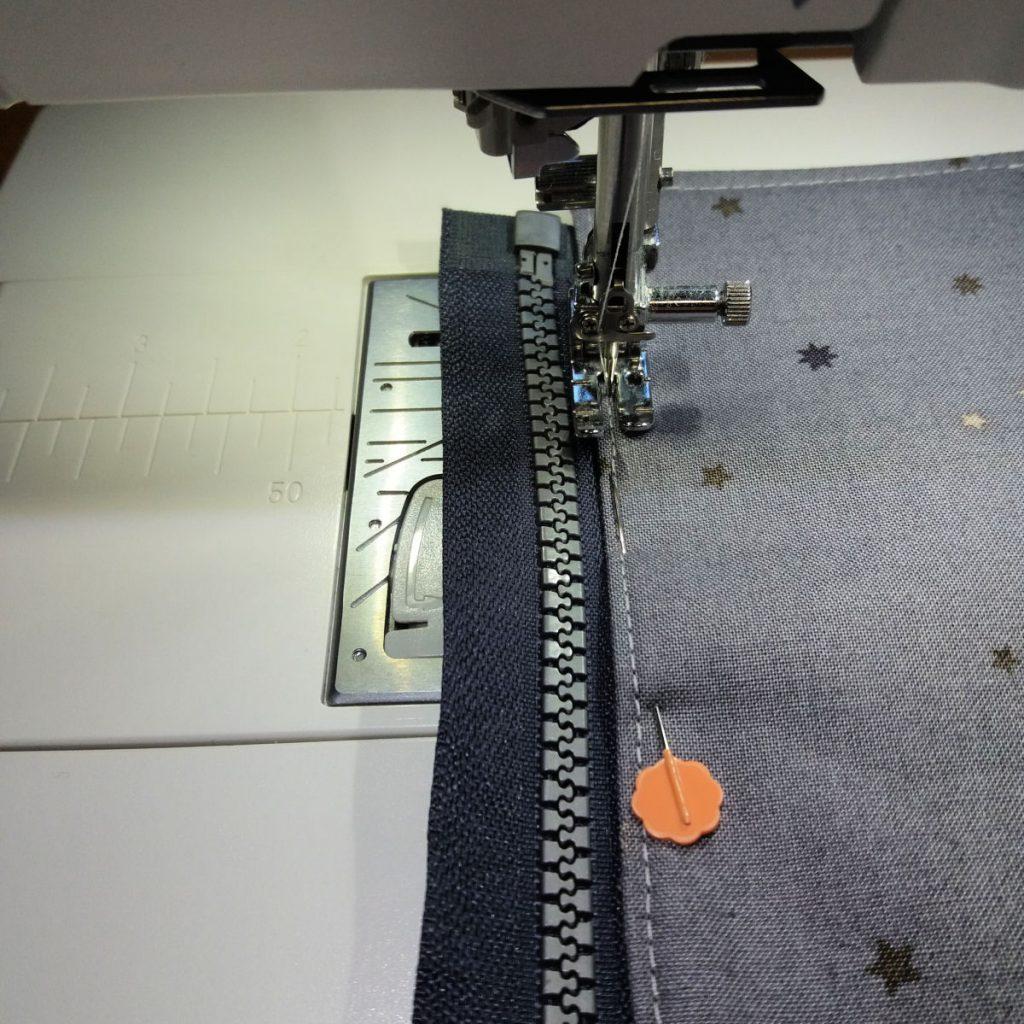 Top stitching the zip