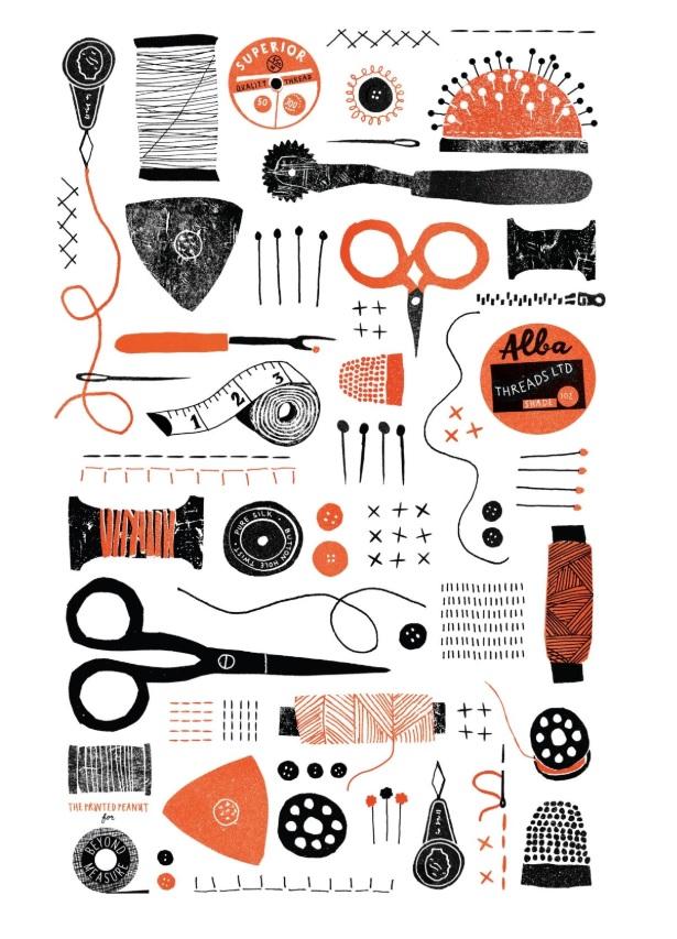 sewing illustration panel