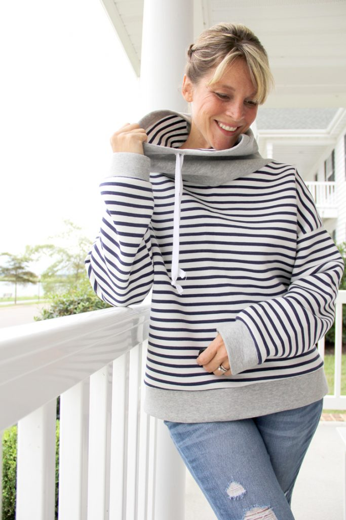 Free cowl neck sweatshirt sewing pattern