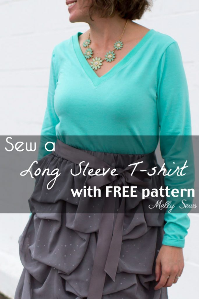Free sewing pattern for a long sleeve top