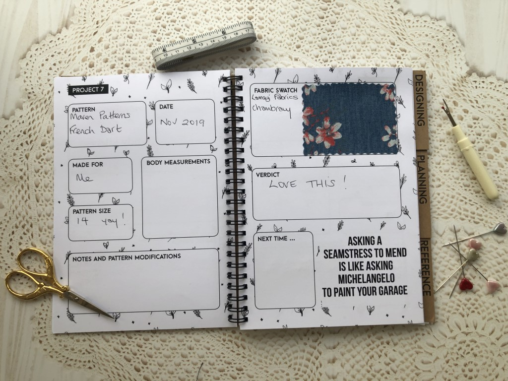 Dressmaker's journal for planning sewing projects