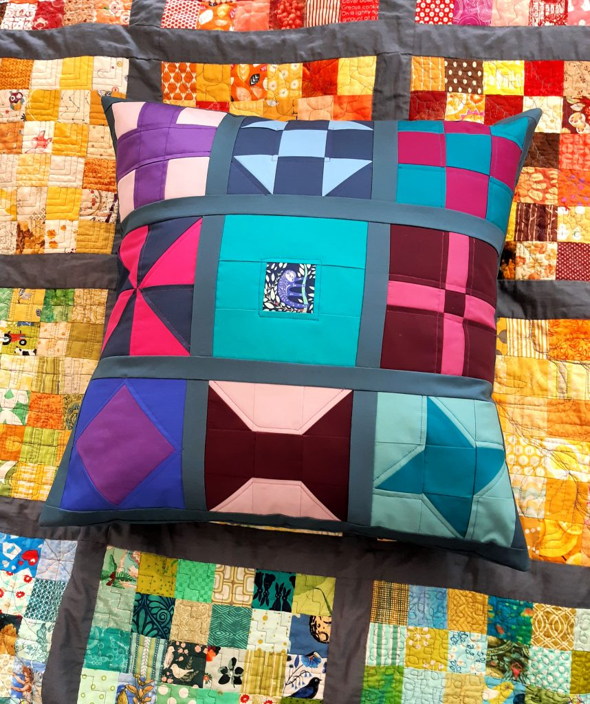 Sampler patchwork cushion for beginners