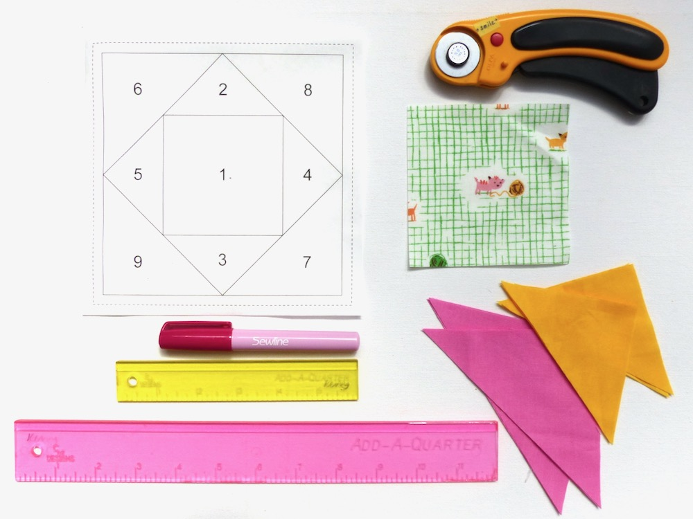 Materials for sewing an economy block