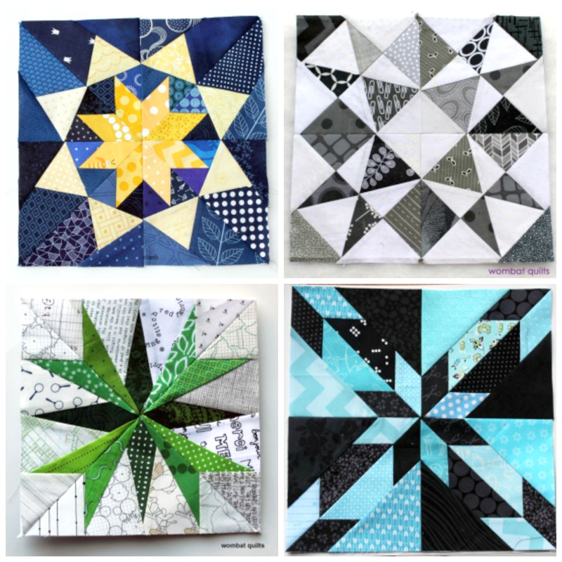 Foundation pieced quilt blocks from Wombat Quilts