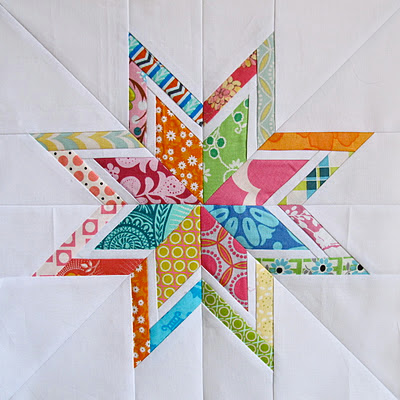 Foundation pieced lone star quilt block