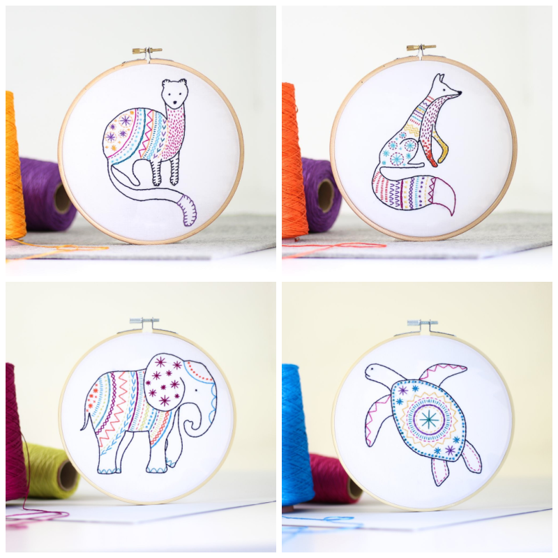Hawthorn Handmade animal themed embroidery kits