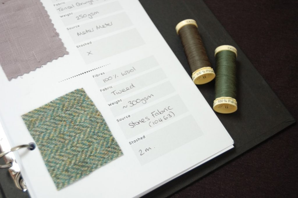 Create a fabric swatch reference book